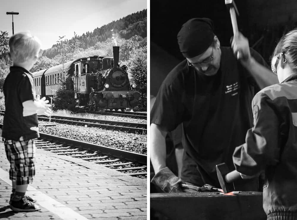 Portraits, Junge mit Lokomotive und Schmied mit Gesellin