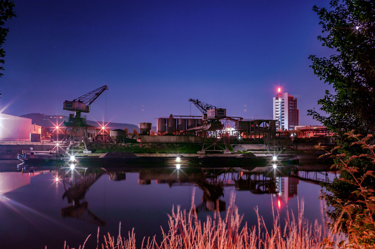 Nachtaufnahmen, Industriehafen Heilbronn