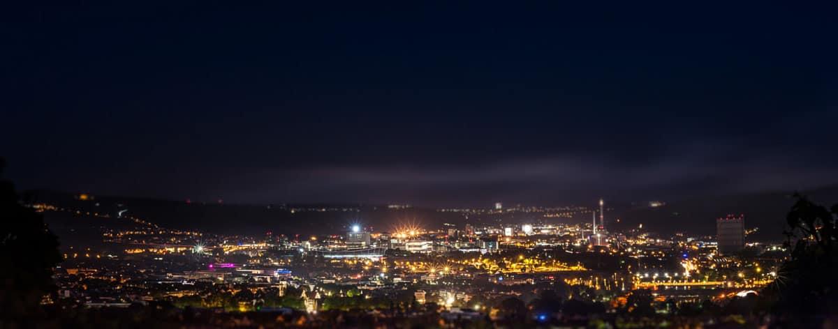 Nachtaufnahmen, Blick auf Stuttgart-Ost