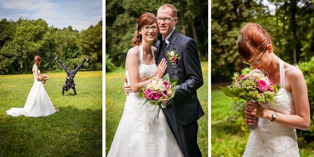 Junges Hochzeitspaar am Hochzeitstag im Stadtpark Chemnitz, Fotografie