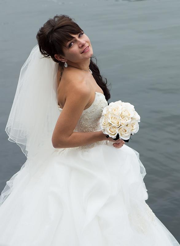 Braut mit Brautstrauß, Hochzeitsfotoworkshop