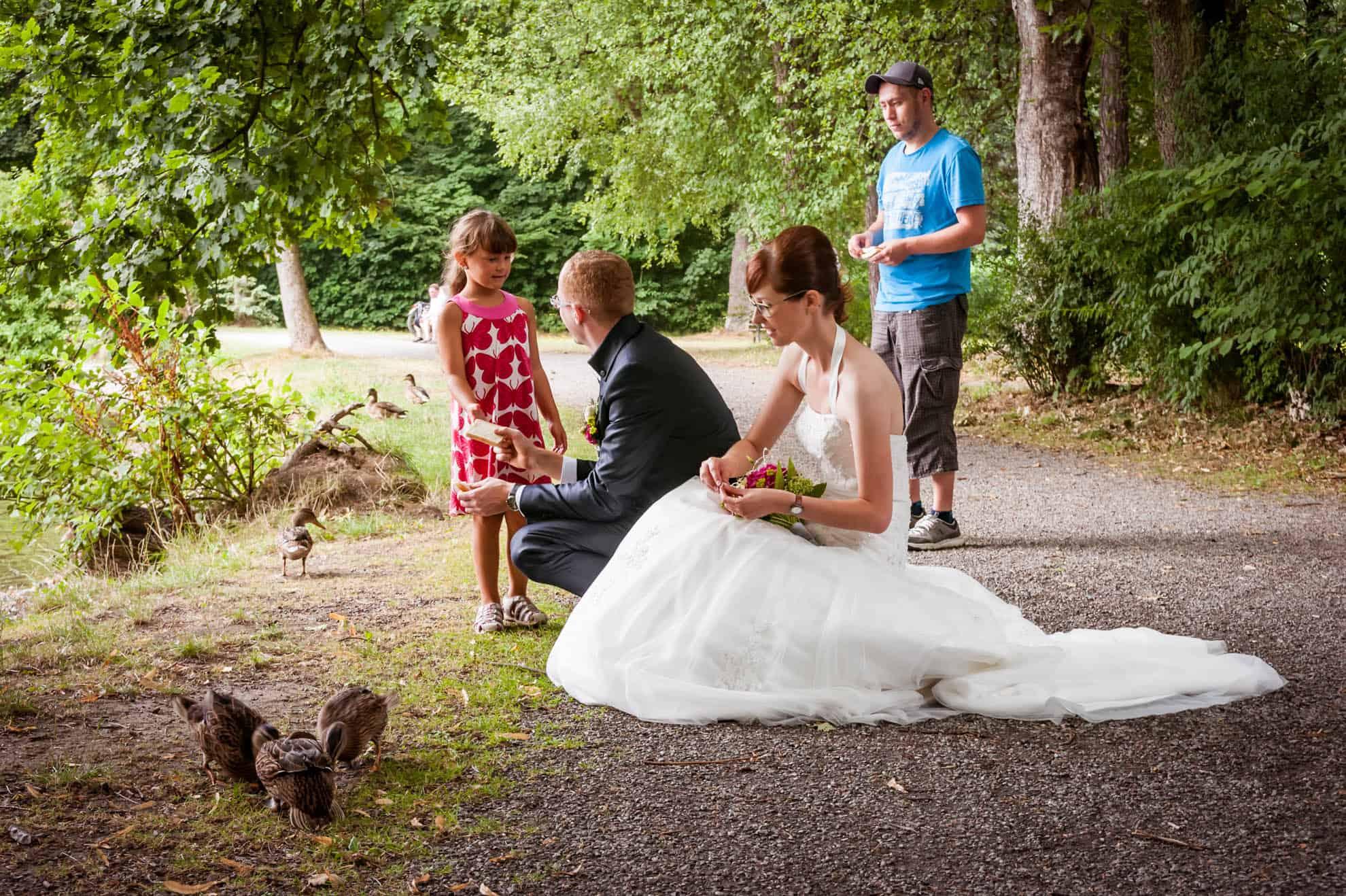 Braut und Bräutigam füttern Enten und bekommen Brot geschenkt, Hochzeit in Chemnitz