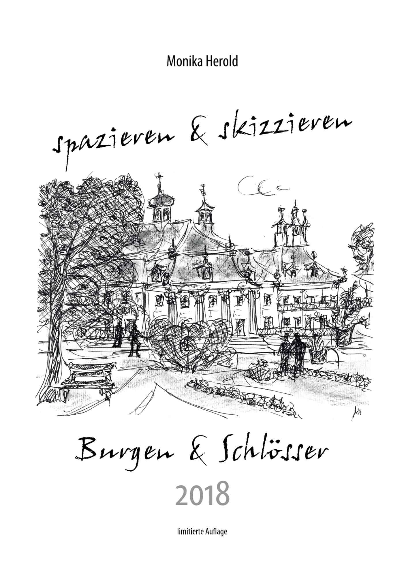 Skizze vom Wasserschloss Pillnitz, Kalender 2018, Dresden