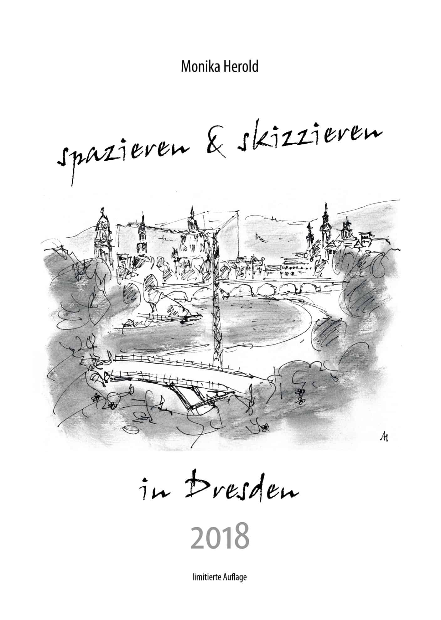 Skizze vom Waldschlösschenblick Dresden, Kalender 2018, Dresden
