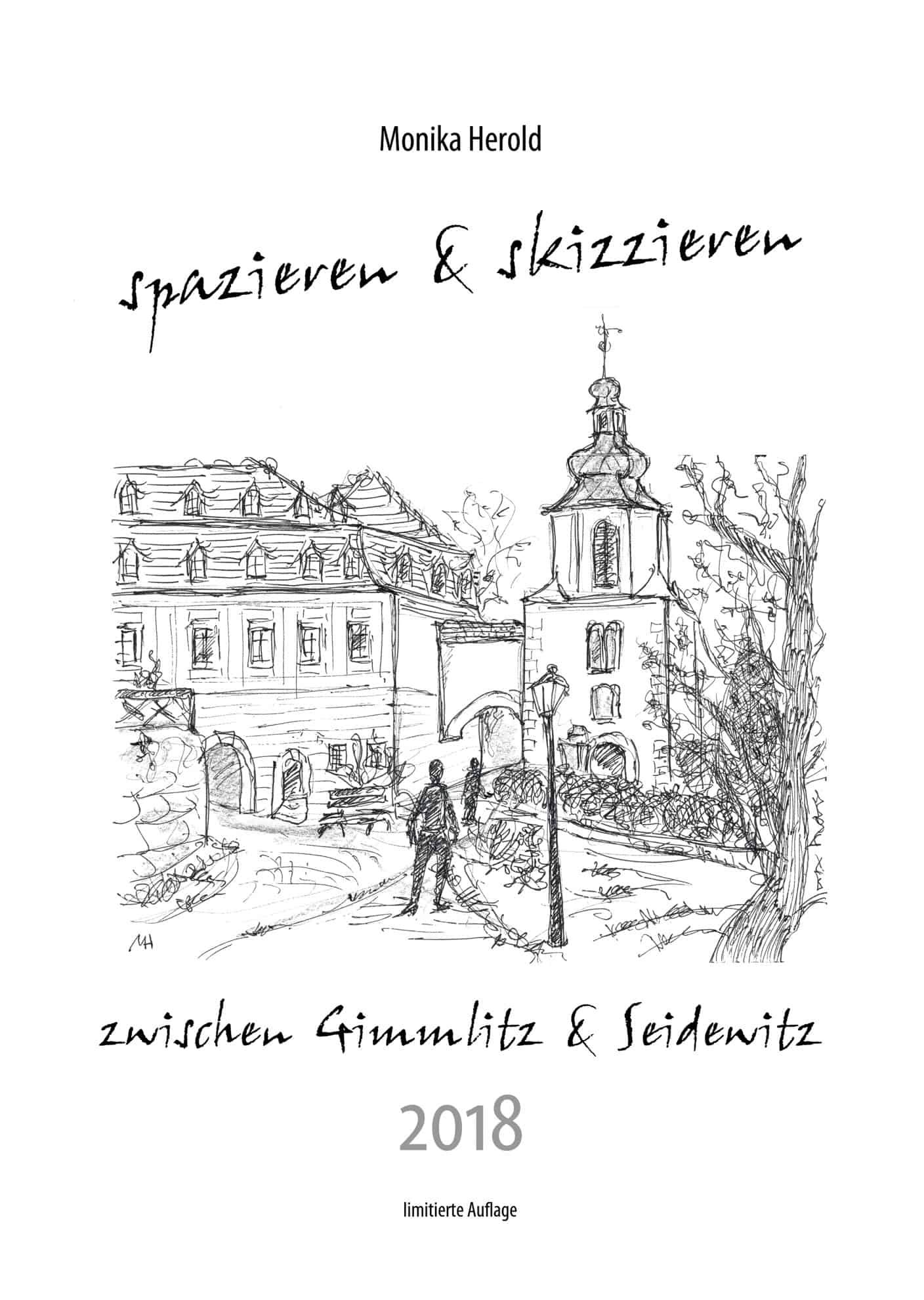 Skizze vom Landschloss Zuschendorf, Kalender 2018, Gimmlitz & Seidewitz
