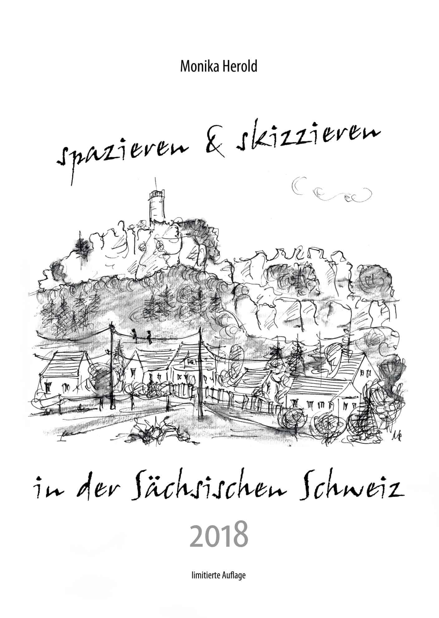 Skizze vom Papstein, Kalender 2018, Sächsische Schweiz