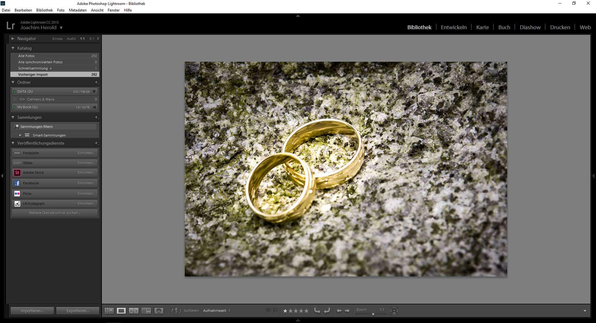 Ringfoto von Hochzeit in Lightroom, Bildoptimierung