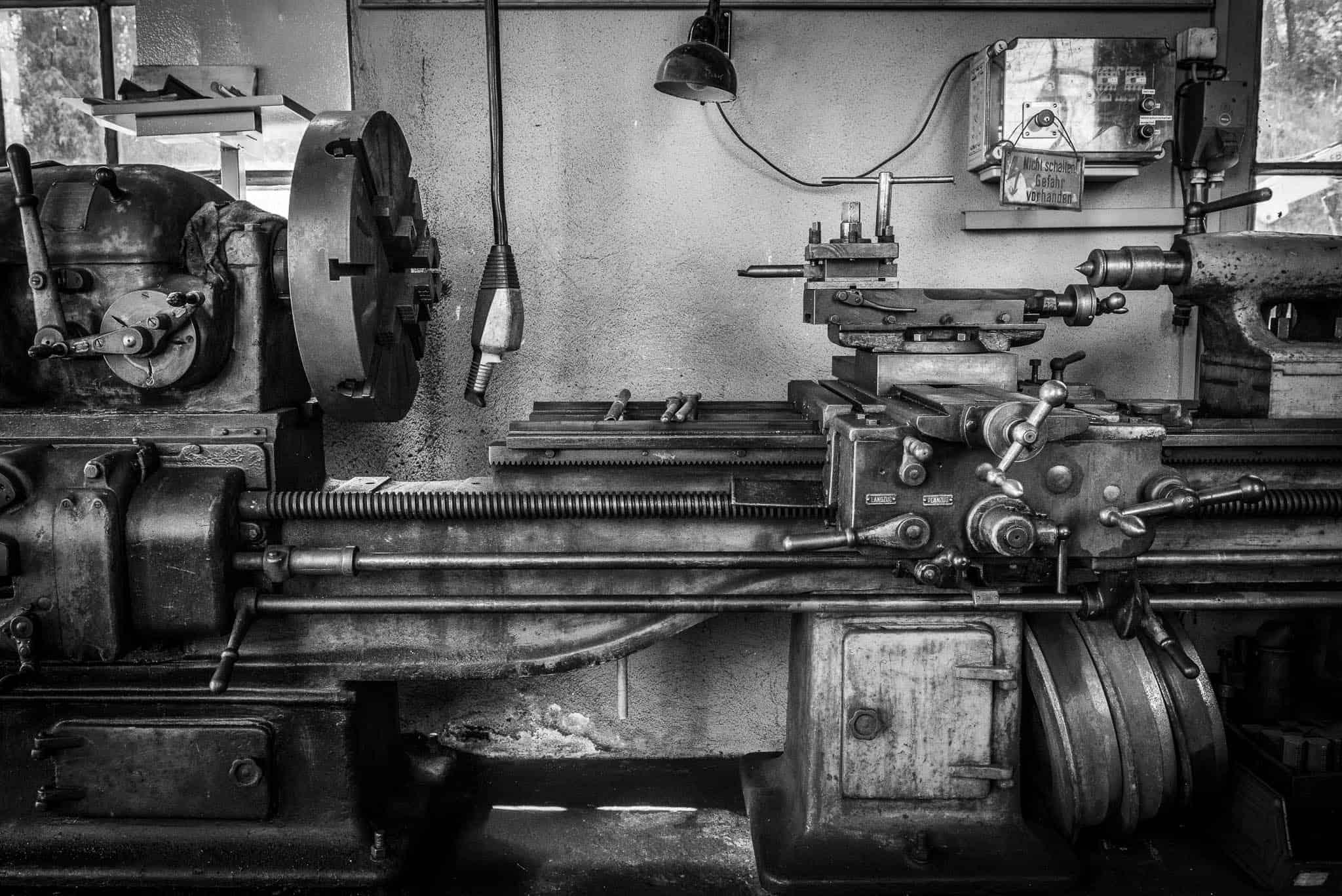 Mechanische Drehmaschine, fotografieren mit Festbrennweiten