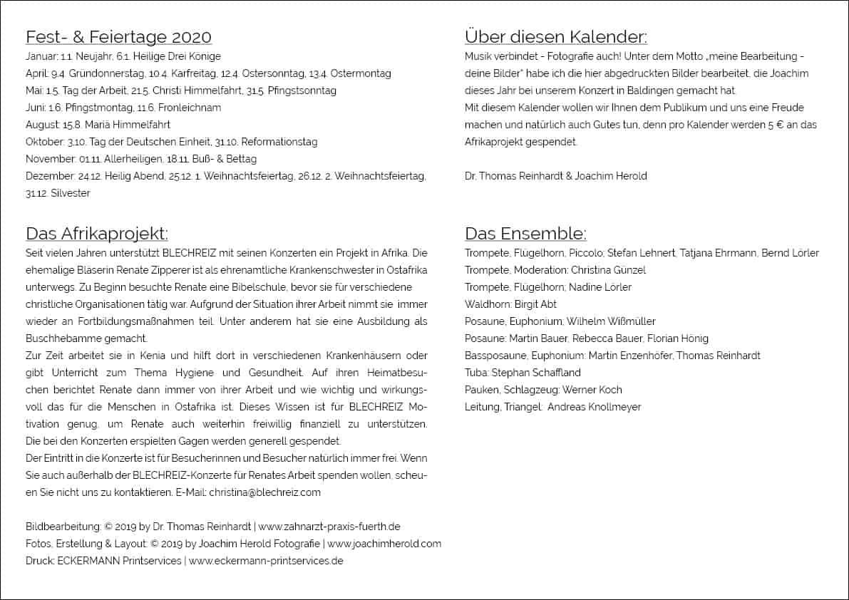 BLECHREIZ Kalender 2020,Rückblatt, Querformat A3